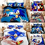 Wusan 3D Cartoon Printed Sonic The Hedgehog Bedding Sets for Kids Boys Soft Microfiber Duvet Covers Twin Size