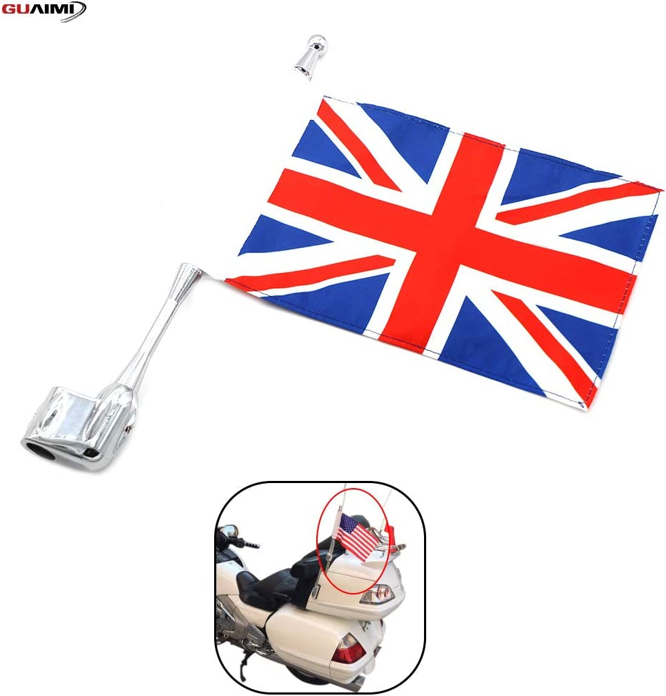 GUAIMI Motorcycle Flag Pole Mount Antenna Flag Holder with 5.5 x 9 Inch U.S Army Flag For H-onda GL1800 GL1500 Goldwing