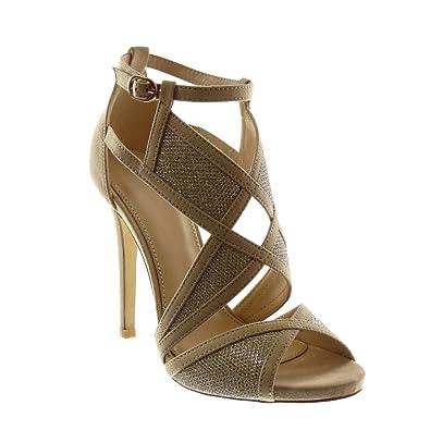 Stiletto Toe Lanière Escarpin Peep Mode Sandale Angkorly Chaussure angwqYvpI