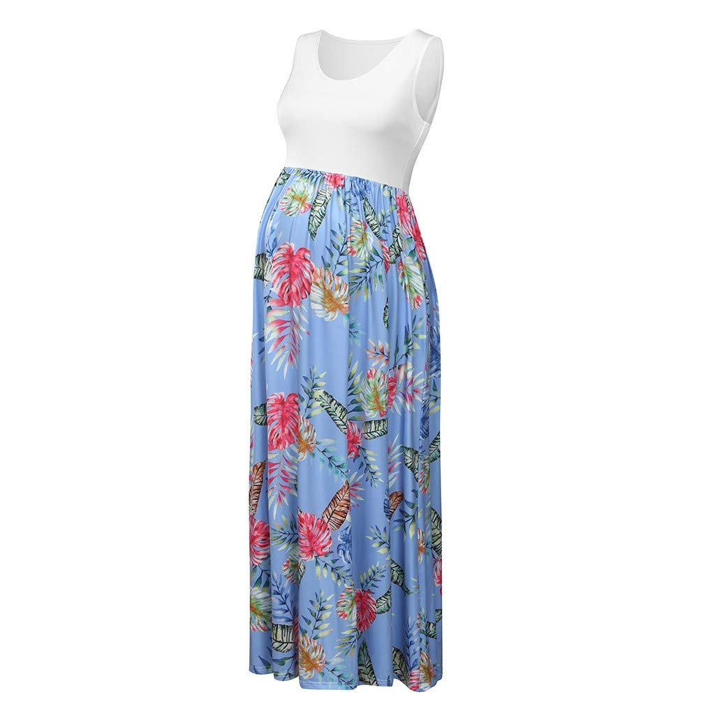 HOT Sale!!! Maternity Dress Floral Print Sleeveless Maxi Dress Breastfeeding Braces Skirt Pregnancy Dress for Photography Daily Wearing Baby Shower