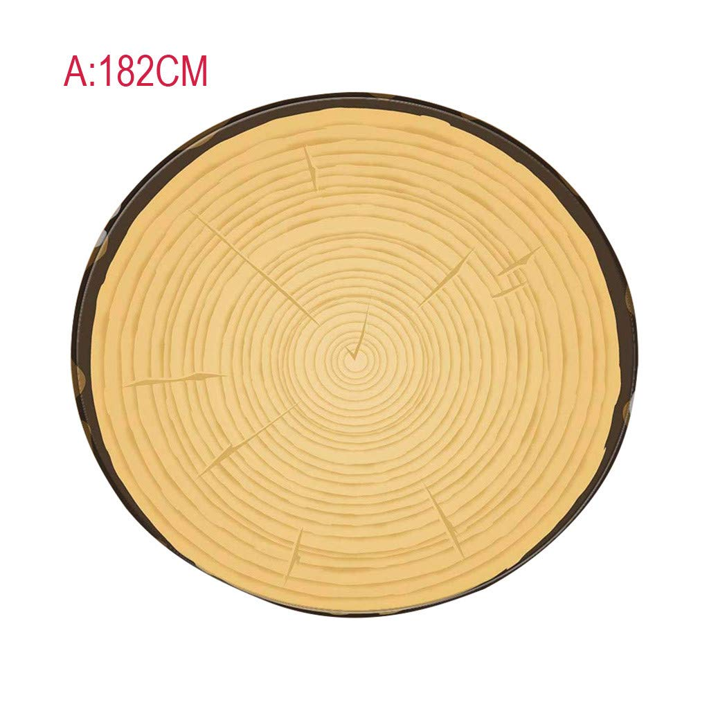 Eve.Ruan Super Soft Creative Blanket Tree Annual Rings Texture Polyeste Material Wrap Mat Perfectly Round Tortilla Throw for Kids Children Home Decor (A)