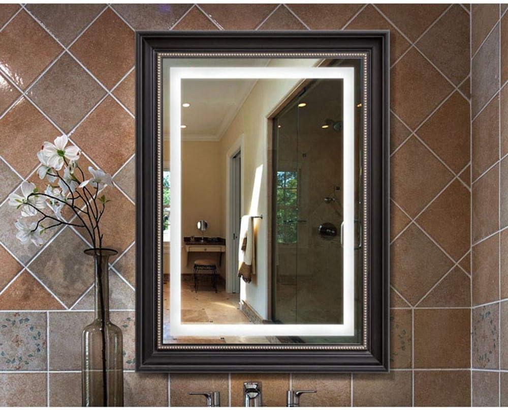 Espejo El LED Cuadrado Ilumina baño/el Inodoro del Hotel montado en la Pared antivaho a Prueba de explosiones/Marco de Resina: Amazon.es: Hogar