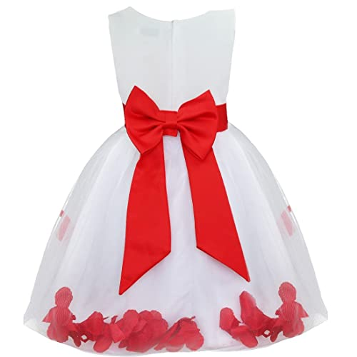 iEFiEL Girl Bowknot Flower Petals Dress Christening Wedding Bridesmaid Formal Party Dress