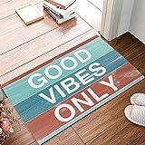 Libaoge GOOD VIBES ONLY with Colorful Rustic Wood Background Doormat Welcome Mat Entrance Mat Indoor/Outdoor Door Mats Floor Mat Bath Mat