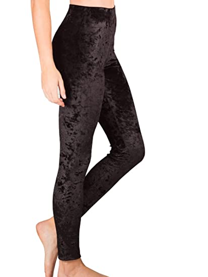 1ebf6c660c Nulibenna Womens Crushed Velvet Leggings High Waist Stretchy Bodycon Pants  at Amazon Women's Clothing store: