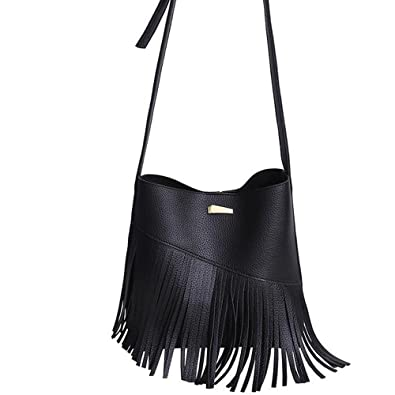 6dc83c24f520 Amazon.com  KINDOYO Leather Fringe Tassel Drawstring Bucket Shoulder ...