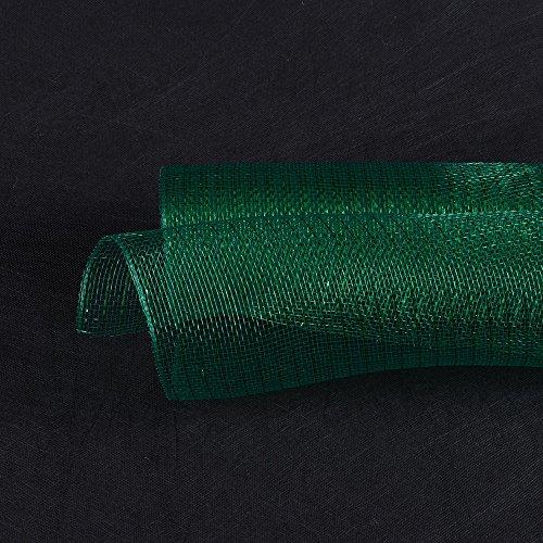 (BBCrafts 21 Inch X 10 Yards Premium Deco Mesh Wrap Metallic Stripes for Gift Home Decor (Hunter Green))
