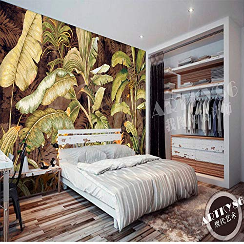 Background Wall of Canna Leaf and Canna Flower Oil Paintings of Retro Tropical Plants in Europe and America,400280CM