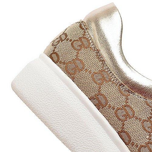 Amoonyfashion Tacco Basso Donna Assortiti Stringate Tacco Alto Chiuso Scarpe-scarpe Albicocca