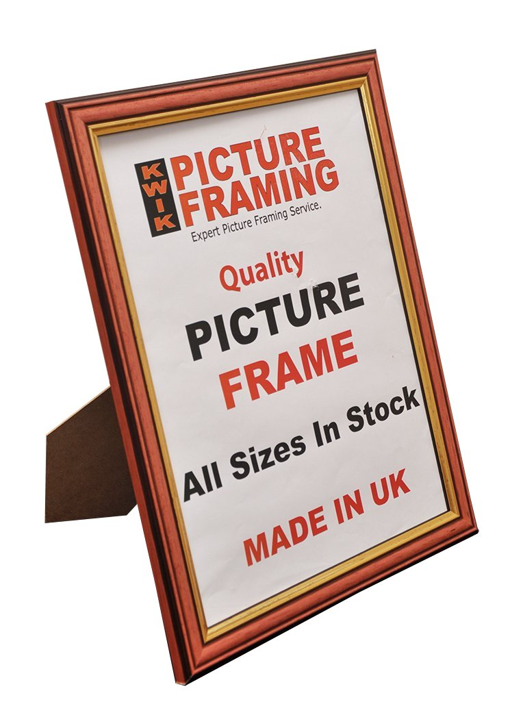Kwik Picture Framing: Medium Wood Gold Edge Picture Frame (10