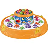 Haktoys Premium Quality Fishing Game with Rotating Double Fish Pools & 26 Fish - with Lights and Sound