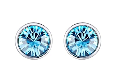 NEVI Round Fashion Swarovski Elements 925 Silver Rhodium Plated Stud Earrings Jewellery for Women And Girls Earrings at amazon