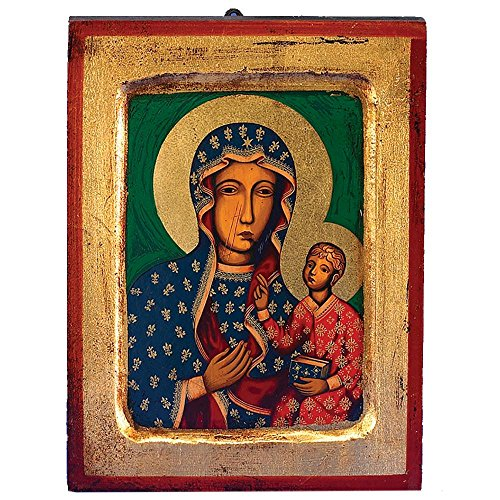 Czestochowa (Black Madonna) Greek Painted Icon by Catholic Gifts USA