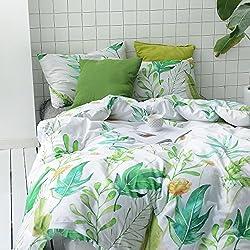 100% Cotton, 3pcs Botanical Duvet Cover Set, Floral Green Garden Leaves Printed on White Bedding (Full Size)