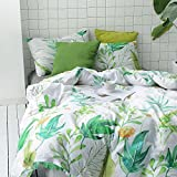 Wake In Cloud 3pc Cotton Duvet Cover Set, Twin-XL, White Green Tropical Deal (Small Image)