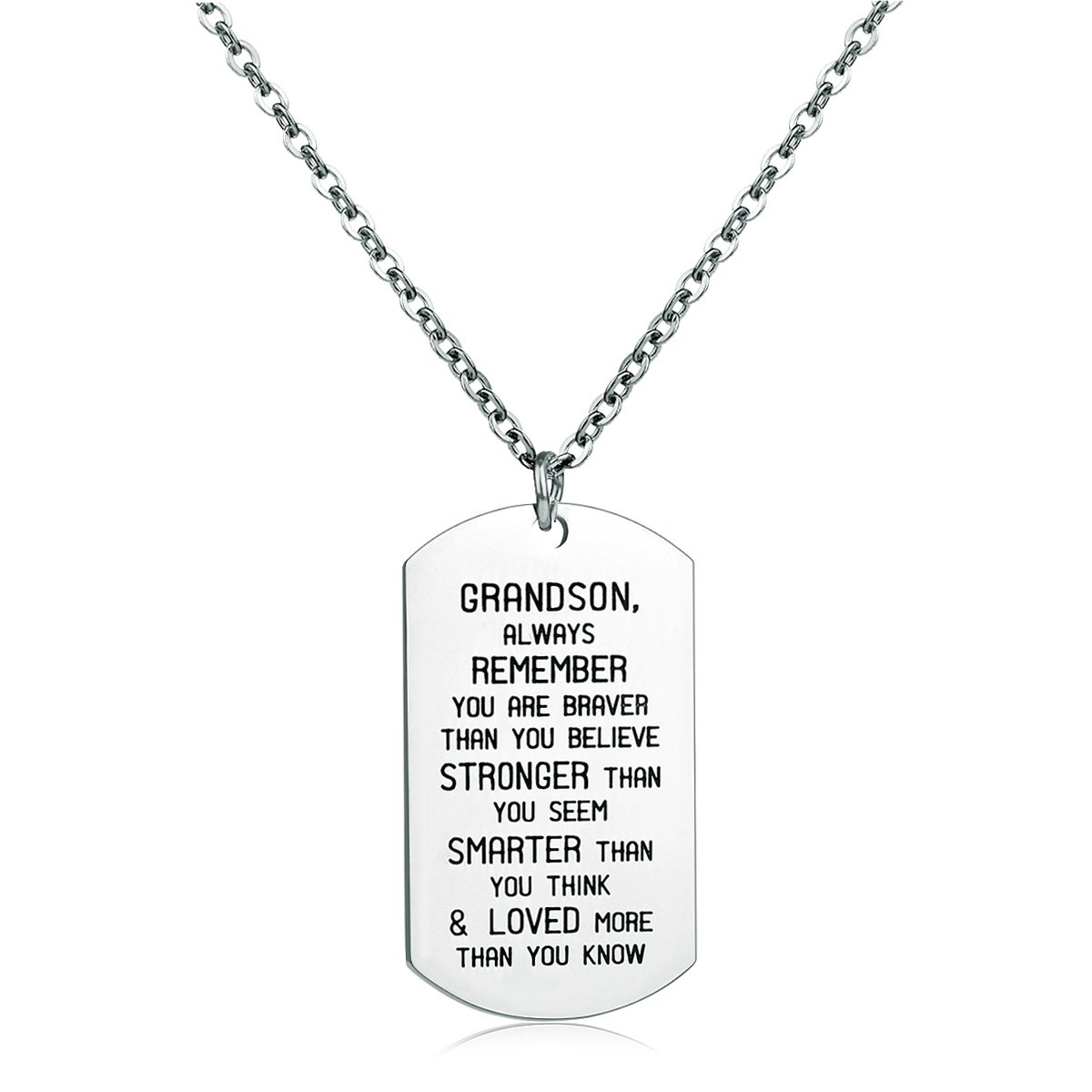 To My GrandSon Dog Tag Military Stainless Steel Pendant Necklace Grandson Always Remember You are Braver Stronger Smarter than you think danjie
