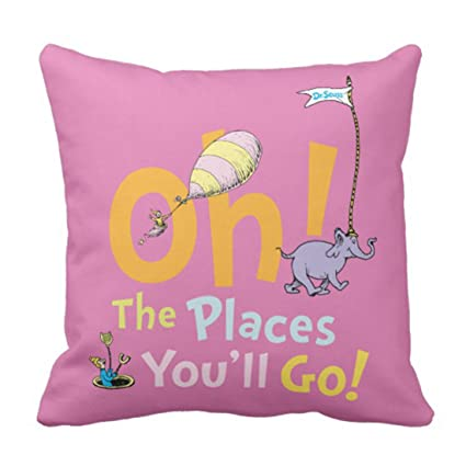 Amazon Emvency Throw Pillow Cover Youll Dr Seuss Oh The Places Interesting Places To Buy Decorative Pillows