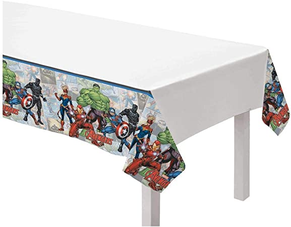 2PCS Avengers Table Cover Tablecloth for Superhero Themed Birthday Party Decoration