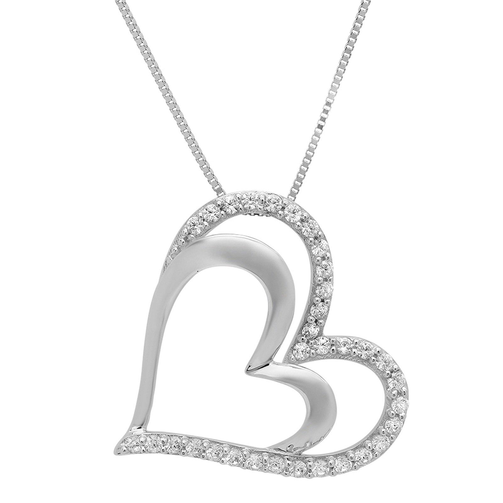 Clara Pucci 0.15 CT Heart Brilliant Round Cut CZ 14K White Gold Pendant Box Necklace + 16'' Chain