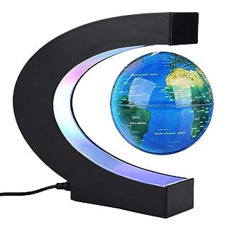 Forma C di Palloncino galleggiante di levitazione magnetica Rotazione del mappa del Mondo con Luci LED Terra Globo per decorazione da scrivania regalo di Compleanno di Natale oro