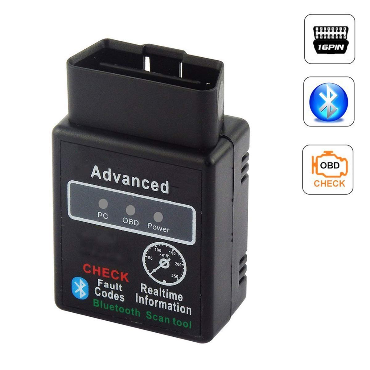 Weddecor OBD2 Bluetooth scanner Adapter V1.5 ELM327 for Code reader with IOS Car Engine Diagnostic Scan Tool Android Wireless Data Feed