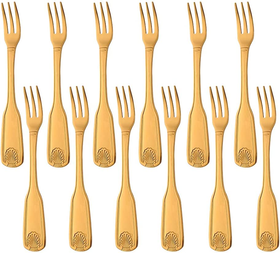 Bouillon Round Spoons BUY/&USE Shell Pattern Soup Spoon Stainless Steel 6.4 Inches Commercial Quality Gold Flatware Set of 12