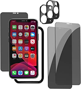 EWUONU for iphone 11 Pro Privacy Screen Protector Tempered Glass [Full Coverage], 5.8 inch Anti Spy/Glare/Scratch Screen Protetor for iphone 11 Pro [2Pack] + Bubble Free & High Definition Camera Lens Screen Protector [2Pack] + Installation Tray Included