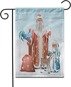 """Awowee 28""""x40"""" Garden Flag Russian Father Frost Snow Maiden Blue Rooster Symbol and Fawn Outdoor Home Decor Double Sided Yard Flags Banner for Patio Lawn"""