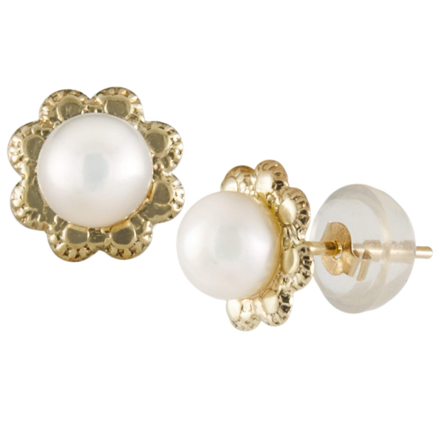 14k Yellow Gold earrings with White 4-4.5mm Freshwater Pearls and 14K Yellow Gold Butterly Push Backs in Silicone