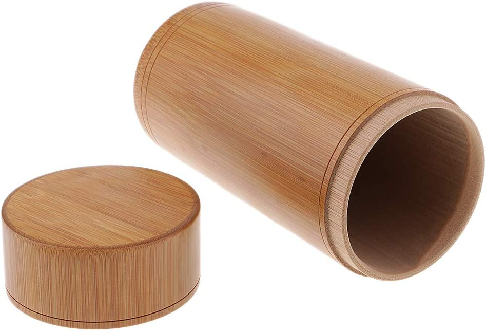 MagiDeal Bamboo Storage Case Canister Box Home Tea Candy Tin Bottle Jar 19cm
