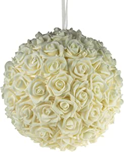 Party Spin Soft Touch Foam Rose Flower Kissing Ball Wedding Centerpiece, 12-inch (Ivory)