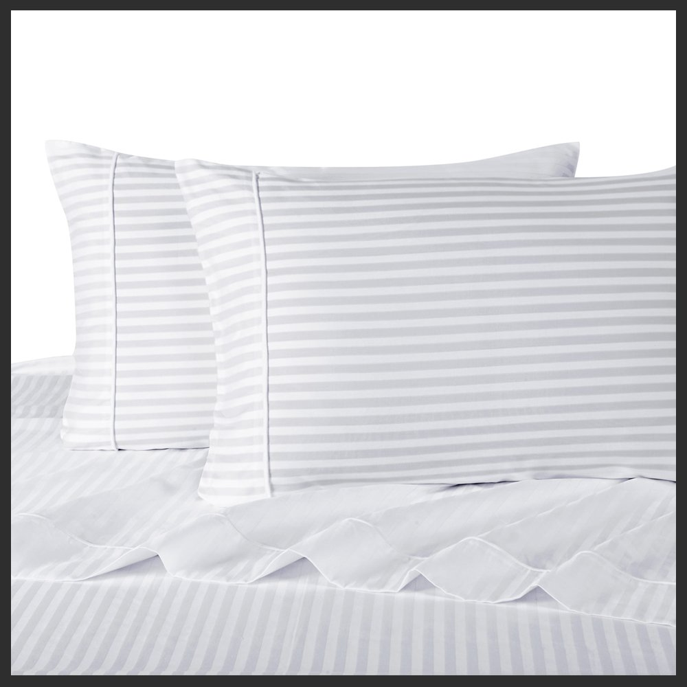 Royal Hotel's Striped White 300-Thread-Count 4pc Full Bed Sheet Set 100-Percent Cotton, Sateen Striped, Deep Pocket, 100% Cotton