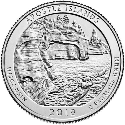 2018 P BU Apostle Islands, Wisconsin National Park NP Quarter Choice Uncirculated US ()