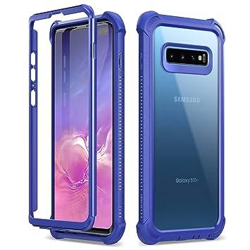Dexnor Funda Samsung Galaxy S10, Carcasa con Parachoques de Silicona de 360 Grados, [A Prueba de Golpes] [Ligero] Panel Posterior Transparente, sin ...