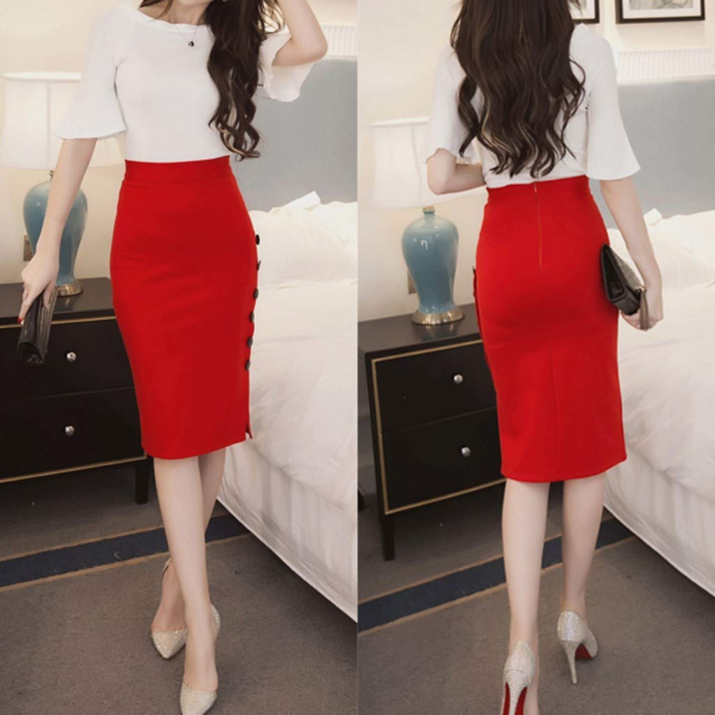 Autumn Womens Winter Pencil Skirt Ladies High Waisted Button Split Office Skirt Multiple Size