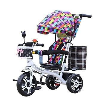 4 en 1 Bicicleta Asiento Giratorio Bicicleta Infantil de 3 Ruedas Plegable Cochecito de bebé Protección
