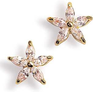Elegant Cubic Zirconia Stud Earrings for Women - 14k Gold Dipped Flower Earrings for Girls, Precious Hypoallergenic Earrings for Sensitive Ears, Dainty Nickel Free Earrings, Beautifully Gift Boxed