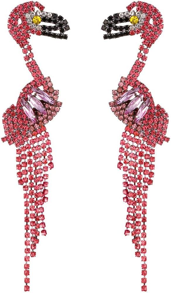QTKJ: un par de Pendientes Largos de flamencos con Borla Rosa para Mujer