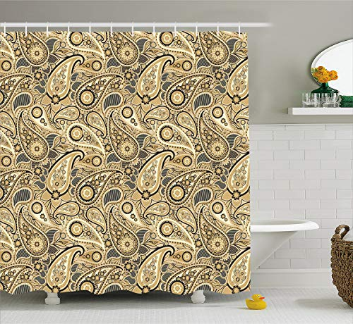 Ambesonne Earth Tones Shower Curtain, Iranian Pattern Traditional Asian Paisley Welsh Pears, Fabric Bathroom Decor Set with Hooks, 75 inches Long, Charcoal Yellow