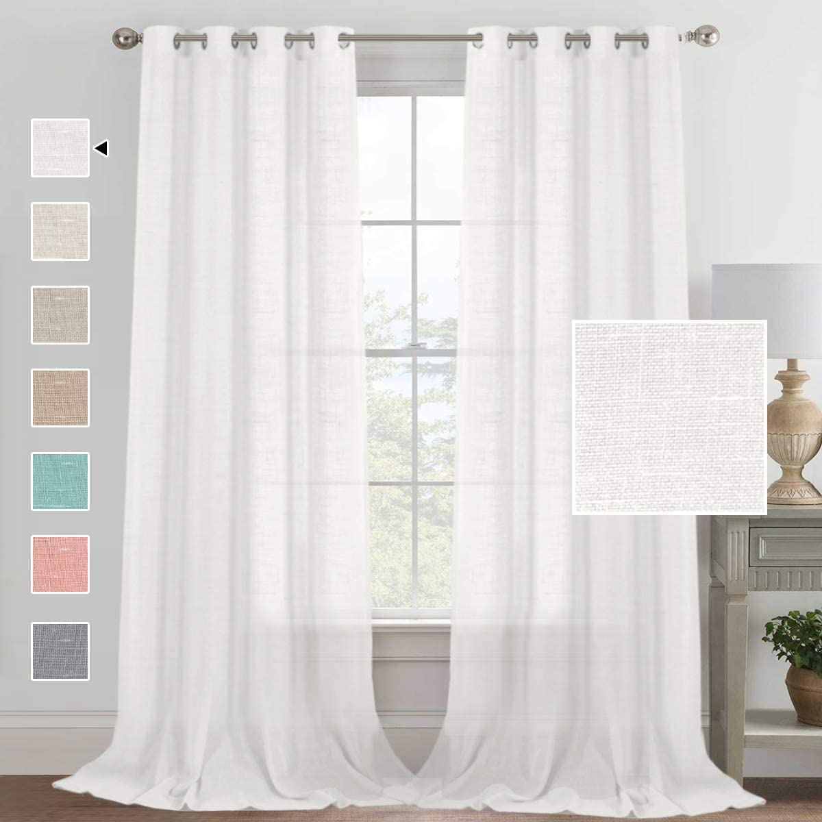H.VERSAILTEX Elegant Linen Blended Curtains Privacy Protection Light Filtering Silver Grommet Window Panels Drapes for Bedroom Living Room Linen Semi Sheer Curtains Set of 2 52 W x 108 L, White