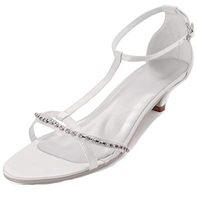 91f1ccd0dd6e55 Sky-Pegasus sandals Summer Women Blue Open Toe Rhinestone Low Heel  Comfortable Satin Bridesmaid Wedding