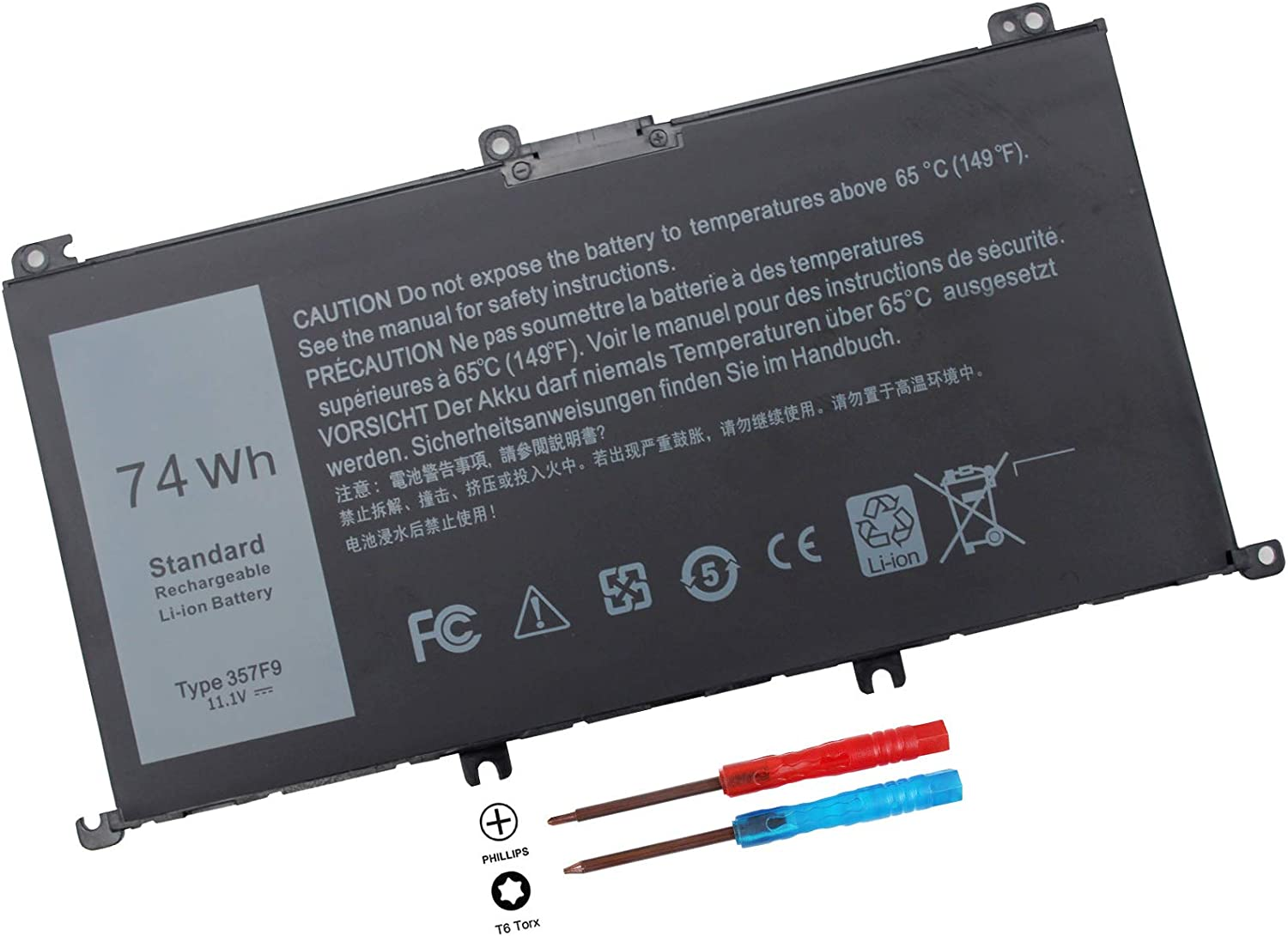 74WH 357F9 71jf4 Battery for Dell Inspiron 15 7000 Gaming 15 7557 i7557 7559 i7559 5576 7566 5577 7567 i7559-5012GRY i5577-7342blk-pus INS15PD Series 071jf4 0GFJ6 0357F9 P65F P65F001 P57F P57F003