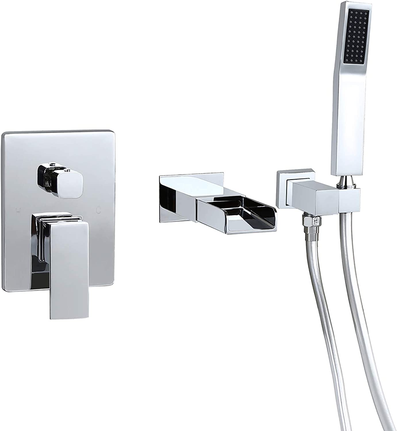 Modern Solid Brass Wall Mounted Tub Filler Spout in Polished Chrome for Bathroom