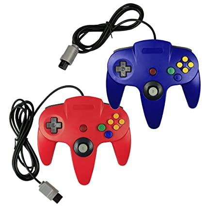 Joxde 2 Packs Upgraded Joystick Classic Wired Controllers N64 Gamepad Console Yellow Blue