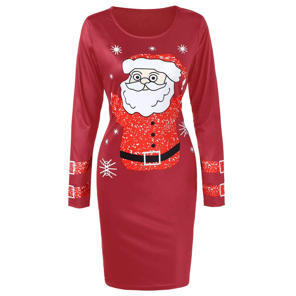 WOCACHI Christmas Bodycon Dresses Womens Santa Claus Long Sleeves Party Dress WOCACHI-181031