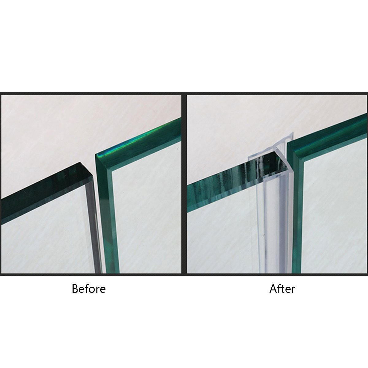 Shower Door Sweep, Frameless Glass Shower Weather Stripping for Door Bottom-36 Inch Length M-3/8 inch + 72 Inch Length H-3/8 inch (3/8 inch(10mm), M+h-Type) by MAGZO (Image #4)