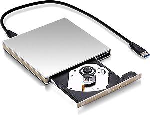 External DVD Drive USB Portable DVD CD Player USB 3.0 Interface CD/DVD-RAM Superdrive DVD+/- RW Burner Rewriter/Reader, for Laptop PC MAC Mobile Recorder Computer/Office Accessory -Silver