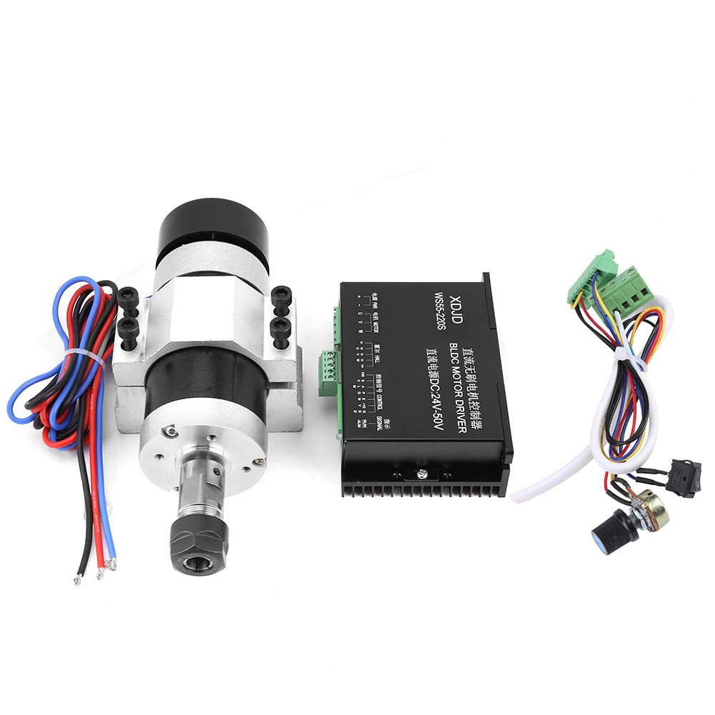 ER16 500W High Speed Air Cooling Brushless Spindle Motor + Driver + Clamp for Engraving Machine