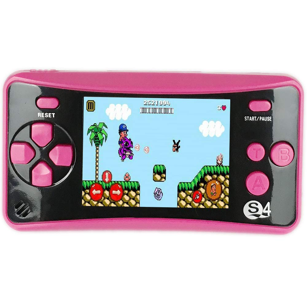 X-JOYKIDS QS-4 Handheld Game Player for Kids,Portable Arcade Entertainment Gaming System Retro FC Video Game Player 2.5'' LCD Built-in 182 Classic Games,Birthday Present for Children-Rose Red