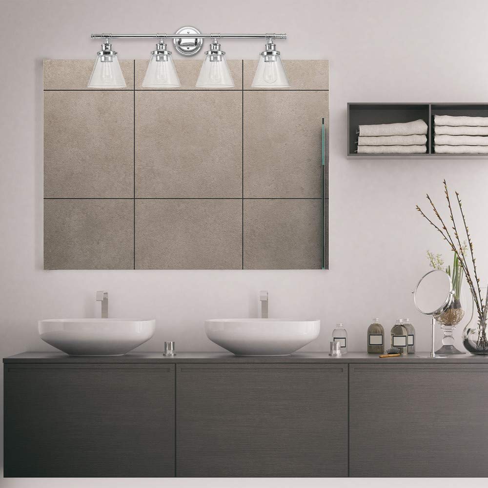 Globe Electric 51446 Parker 4-Light Vanity Light, Chrome with Frosted Glass Shades by Globe Electric (Image #6)